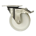 Stainless Steel Metric Swivel Caster with Top Plate, Nylon Wheel and Brake