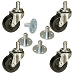 "2"" Amp Casters with Sockets - Soft Rubber Wheel for Amplifiers Set of 4"