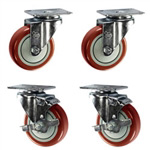 "4"" caster set with polyurethane wheels"