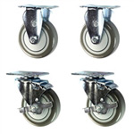 "4"" caster set with gray polyurethane wheels"