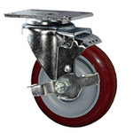 "4"" Swivel Caster with Polyurethane Tread and top lock brake"