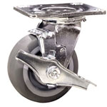 "4"" Swivel Caster w/ Brake and Thermoplastic Rubber Tread Wheel"