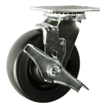 6 Inch Polyolefin Wheel Swivel Caster with Brake