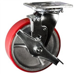 6 Inch Swivel Caster with Polyurethane Tread Wheel - Brake