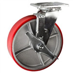 8 Inch Swivel Caster with Polyurethane Tread Wheel - Brake