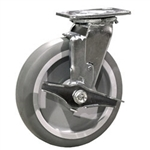 "8"" Swivel Caster w/ Brake and Thermoplastic Rubber Tread Wheel"