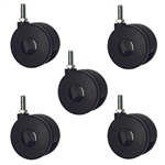 threaded metric stem casters set of 5