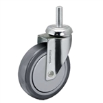 5 inch threaded stem chrome swivel caster with thermoplastic rubber wheel for hospital applications
