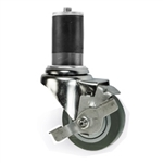 "3.5"" Expanding Stem Swivel Brake Caster with Thermoplastic Rubber Tread"
