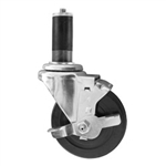 "4"" Expanding Stem Swivel Caster with Hard Rubber Wheel and Top Lock Brake"