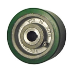 "4"" x 1-1/2"" polyurethane on cast iron drive wheel with metric bore keyway"