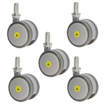 2-3/8 inch gray threaded stem MRI safe casters
