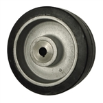 "8"" x 3"" rubber on cast iron drive wheel with metric bore"
