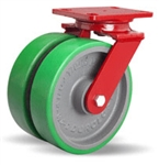 8 Inch dual wheel Swivel Caster with polyurethane on cast core wheels