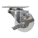 3 Inch Stainless Steel Swivel Caster with White Nylon Wheel and Brake