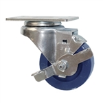 "3"" Stainless Steel Swivel Caster with Brake and Polyurethane Wheel"