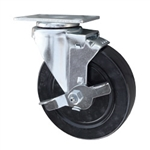 5 Inch Stainless Steel Swivel Caster with Hard Rubber Wheel and brake