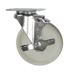5 Inch Stainless Steel Swivel Caster with White Nylon Wheel and Brake