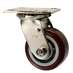 4 Inch Stainless Steel Swivel Caster - Polyurethane Tread on Poly Core Wheel