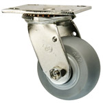 4 Inch Stainless Steel Swivel Caster - Thermoplastic Rubber on Poly Core Wheel