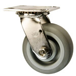 5 Inch Stainless Steel Swivel Caster - Thermoplastic Rubber on Poly Core Wheel