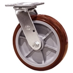 8 Inch Stainless Steel Swivel Caster - Polyurethane Tread on Poly Core Wheel