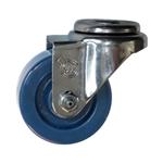 "3"" Stainless Steel Bolt Hole Swivel Caster with Solid Polyurethane Wheel"
