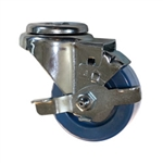 "3"" Stainless Steel Bolt Hole Swivel Caster with Solid Polyurethane and brake"