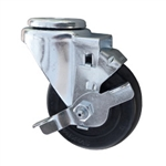 "3-1/2"" Stainless Steel Swivel Caster with bolt hole, hard rubber wheel and brake"