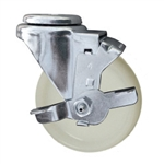 4 Inch Stainless Steel Bolt Hole Swivel Caster with White Nylon Wheel and Brake