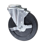 "5"" Stainless Steel Swivel Caster with bolt hole, hard rubber wheel and brake"