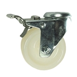 3 Inch Stainless Steel Swivel Caster with White Nylon Wheel and Total Lock