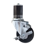 "3-1/2"" Stainless Steel  Expanding Stem Swivel Caster with Hard Rubber Wheel and Top Lock Brake"