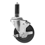 "4"" Stainless Steel  Expanding Stem Swivel Caster with Hard Rubber Wheel and Top Lock Brake"