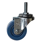 "3"" Stainless Steel Threaded Stem Swivel Caster with Solid Polyurethane Wheel"