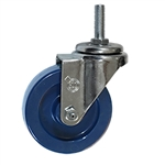 "4"" Stainless Steel Threaded Stem Swivel Caster with Solid Polyurethane Wheel"