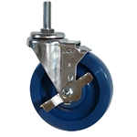 "5"" Stainless Steel Threaded Stem Swivel Caster with Solid Polyurethane Wheel and Brake"