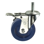 "4"" Stainless Steel Swivel Caster with Solid Polyurethane Tread and Total Lock Brake"
