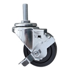 3 Inch Metric Stem Swivel Caster with Rubber Wheel and Brake