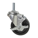 "4"" Metric Threaded Stem Swivel Caster with Phenolic Wheel and Brake"