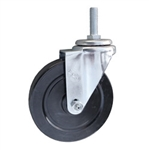 5 Inch Metric Threaded  Stem Swivel Caster with Rubber Wheel