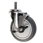 "5"" Threaded Stem Swivel Caster with Thermoplastic Rubber Tread and Brake"