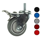 "3"" Metric Threaded Stem Swivel Caster with Polyurethane Tread and Total Lock Brake"