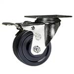 "3"" Swivel Caster with Hard Rubber Wheel and Total Lock Brake"