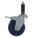 "4"" Expanding Stem Swivel Caster with Solid Polyurethane Wheel and Total Lock Brake System"