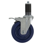 "5"" Expanding Stem Swivel Caster with Solid Polyurethane Wheel and Total Lock Brake System"