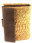 Wallet in Cork with a Gold Thread Pattern