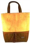 Large Brown and Natural Colour cork Bag with Interior Pocket