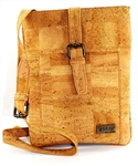 Cork Tablet Bag in Natural cork colour side ziper pocket.
