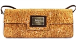 Cork Clutch Bag in Natural Colour Cork with a Gold thread.